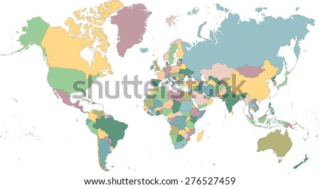 Detailed map of the world divided into countries - stock photo