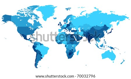 Detailed map of the World with countries in blue colors. Raster version. Vector version is also available. - stock photo