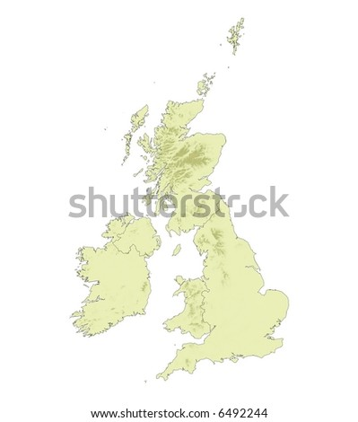 Detailed map of United Kingdom with elevation relief.
