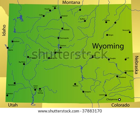 detailed map of wyoming state, usa - stock photo