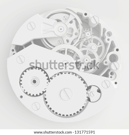 detailed mechanism of hours - stock photo