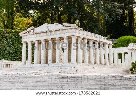 Detailed miniature model of Parthenon in Acropolis, Athens - stock photo