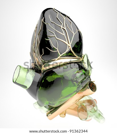 Detailed model of artificial human heart - stock photo