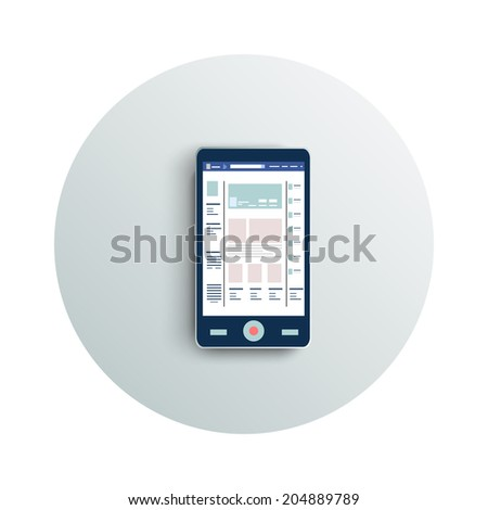 Detailed modern app icon of smartphone business concept on white background. Office and business work elements. Raster version - stock photo