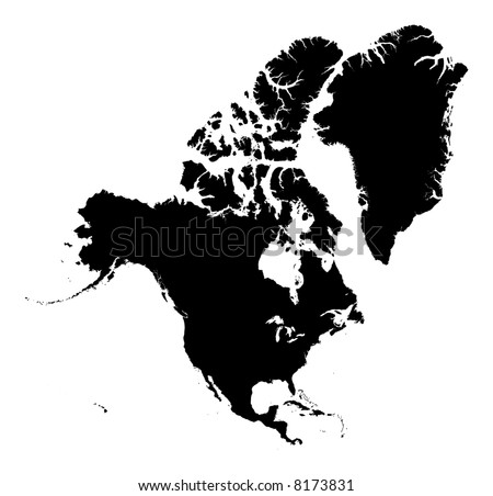 Detailed North America Continent Map Black Stock Illustration - North america map black and white
