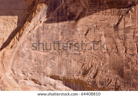 Detailed patterns on a sandstone canyon wall in the Colorado National Monument.