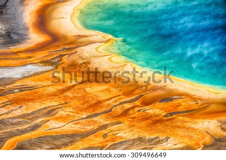 Detailed photo of Grand Prismatic Spring from above. Yellowstone National Park, Wyoming, USA - stock photo
