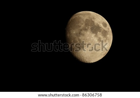 detailed photo of moon via telescope - stock photo