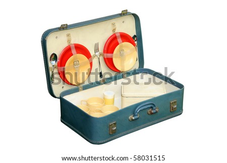 Detailed photo of vintage (1940s/50s picnic set in case, isolated on a pure white background - stock photo