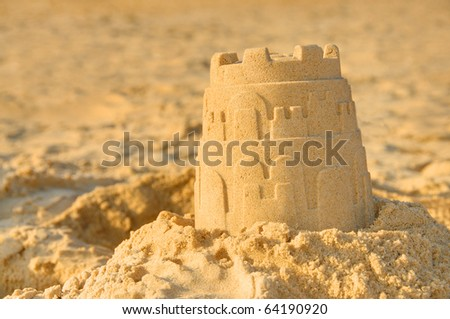 Detailed photograph of a sandcastle - stock photo