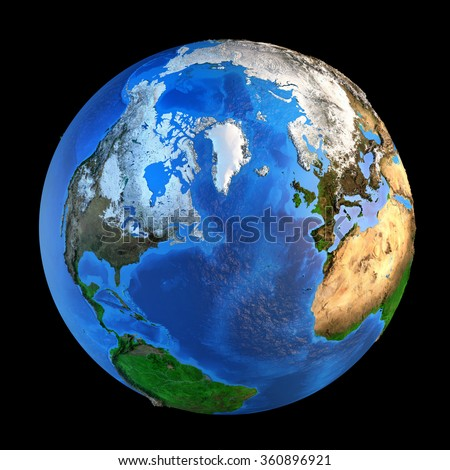 Detailed picture of the Earth and its landforms from a Northern perspective, isolated on black. Elements of this image furnished by NASA - stock photo