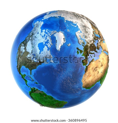 Detailed picture of the Earth and its landforms from a Northern perspective, isolated on white. Elements of this image furnished by NASA - stock photo