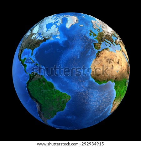 Detailed picture of the Earth and its landforms, isolated on black. Elements of this image furnished by NASA - stock photo