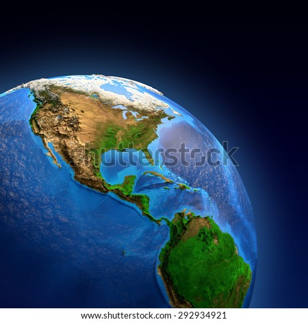 Detailed picture of the Earth and its landforms, view of American continent. Elements of this image furnished by NASA - stock photo