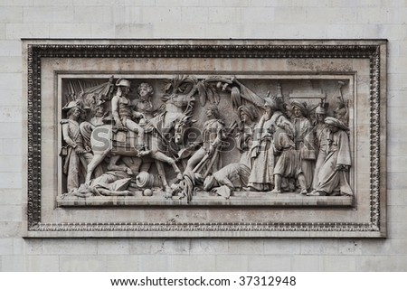 Detailed picture of the relief at Arc de Triomphe, Paris, France - stock photo