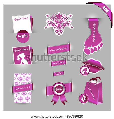 detailed pink label set for women shop and web shop