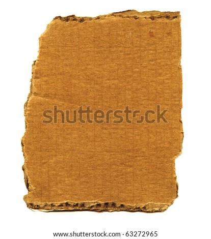 Detailed Real Piece Of Large Cardboard Isolated On White - stock photo