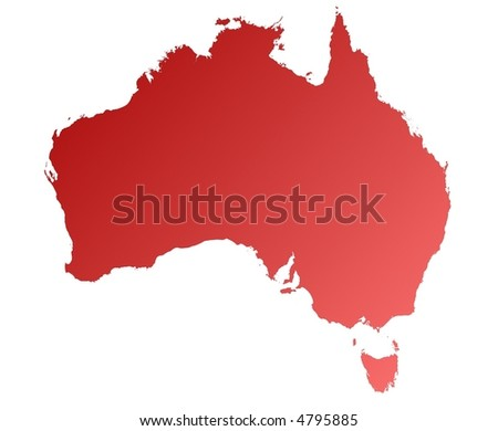 detailed red gradient map of Australia on white background