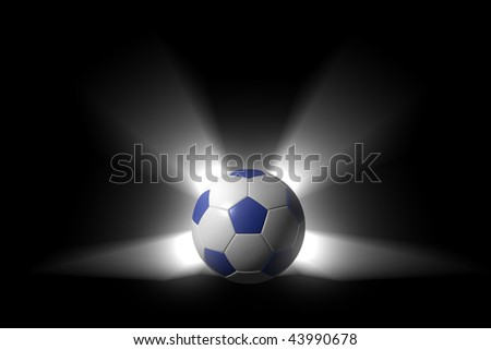 Detailed render of a soccer ball over black with light rays. Streaks of light emitting concentrically, producing a dramatic halo. Ball surface is structured leather with a very realistic appearance. - stock photo