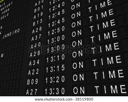 Detailed rendering of a flight information board showing all flights on time.