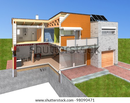 Detailed rendering of a modern house in the section. - stock photo