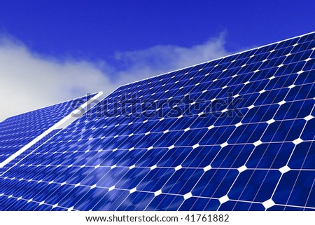 Detailed rendering of solar panels against a blue sky with white clouds. - stock photo