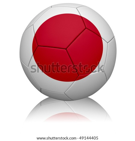 Detailed rendering of the Japanese flag painted/projected onto a football (soccer ball).  Realistic leather texture with stitching.  Clipping path included.