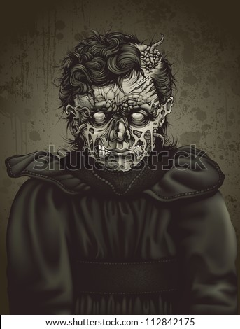 Detailed sepia toned vector illustration of a late 19th century zombie girl dressed in typical colonial attire. Face decay exposes muscle under torn, rotting flesh with worms crawling in and out.