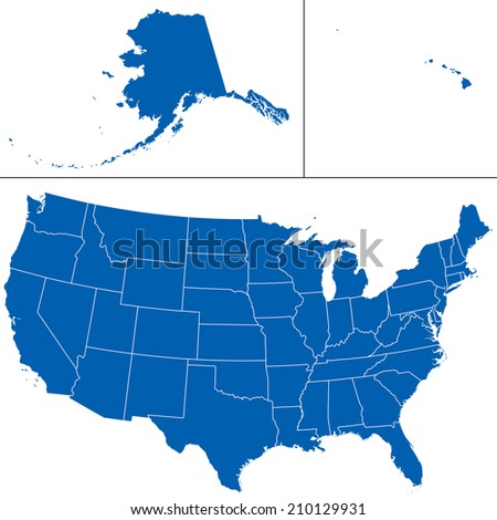 Detailed shape of the Unites States of America including Alaska and Hawaii.  - stock photo
