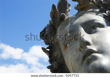 Detailed shot of a statue of a greek goddess