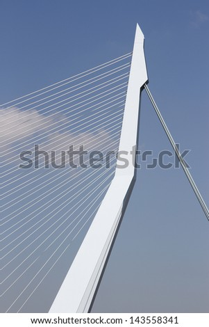 Detailed shot of the Famous Erasmusbrug in Rotterdam, The Netherlands - stock photo