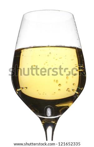 Detailed shot of wineglass full of wine. - stock photo
