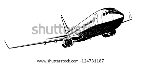 Detailed silhouette aeroplane
