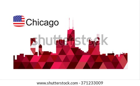 Detailed silhouette of a city of Chicago - stock photo