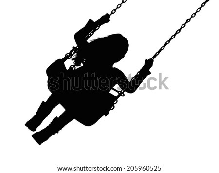 Detailed Silhouette of Small Girl on Amusement Park Swing  - stock photo