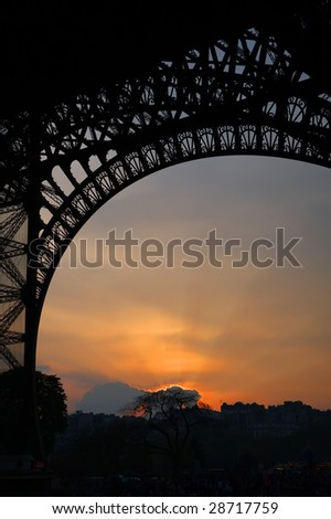 Detailed silhouette of the Eiffel tower with a beautiful sunset - stock photo