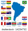 Detailed South American flags and map manually traced from public domain data - also available in EPS format - stock photo