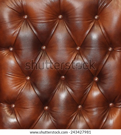 Detailed texture of retro brown leather upholstery