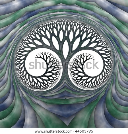 Detailed tree / face abstract fractal on white background (blue and green) - stock photo