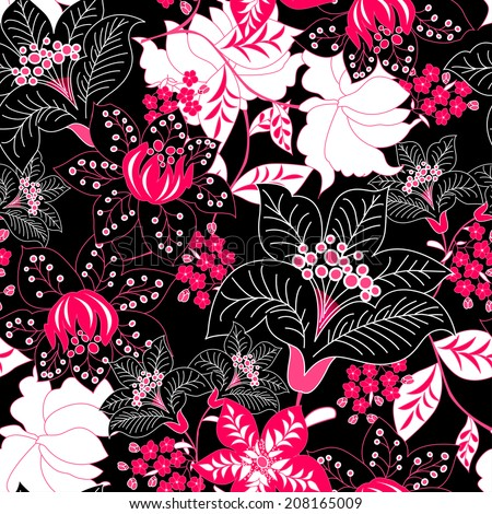 Detailed tropical floral seamless pattern .