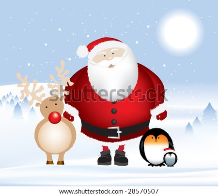 Detailed vector illustration of santa and rudolph with two penguins, set in a winter christmas landscape with snow falling. - stock photo