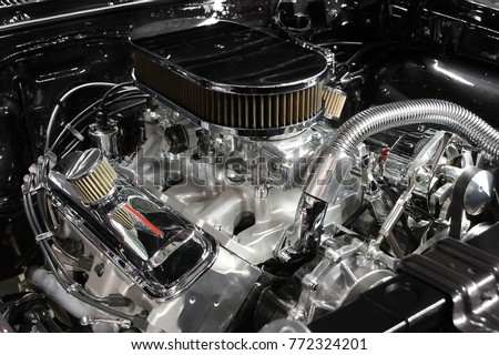 Detailed view of a high performance automobile engine.