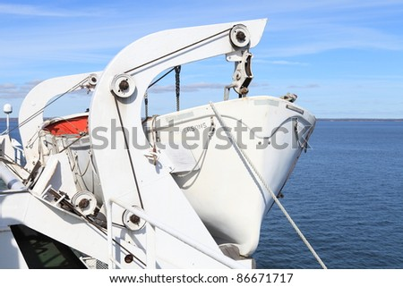 Detailed view of a lifeboat on an ocean going passenger ship.