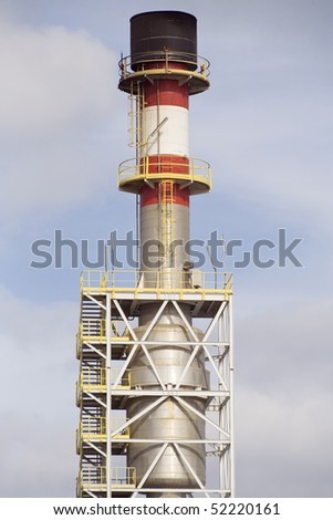 Detailed view of a refinery chimney - stock photo