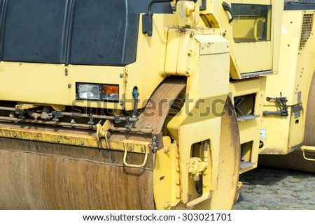 detailed view of a road roller / road roller - stock photo