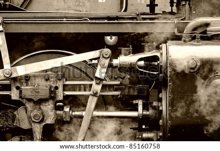 detailed view of an old steam locomotive - stock photo