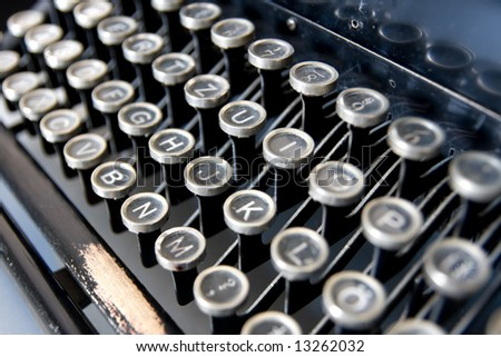 Detailed view of an old typewriter's keyboard. - stock photo