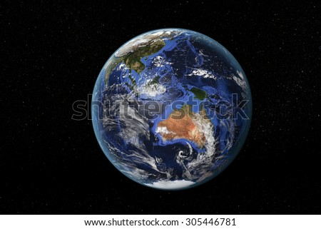 Detailed view of Earth from space, showing Australia and South East Asia. Elements of this image furnished by NASA - stock photo