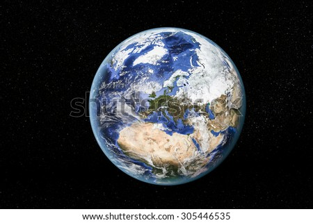 Detailed view of Earth from space, showing North Africa, Europe and the Middle East. Elements of this image furnished by NASA - stock photo