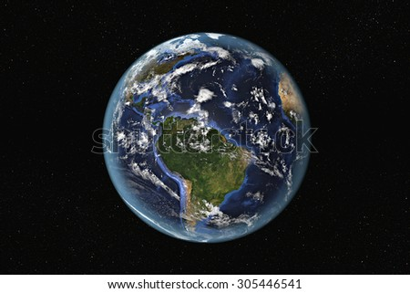 Detailed view of Earth from space, showing South America and The Caribbean. Elements of this image furnished by NASA - stock photo
